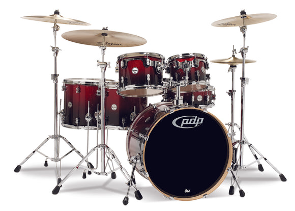 PDP Concept Series 6-Piece Maple Shell Pack, Red to Black Fade
