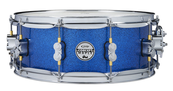 PDP Concept Maple 5.5x14 Snare Drum - Blue Sparkle - Chrome Hardware