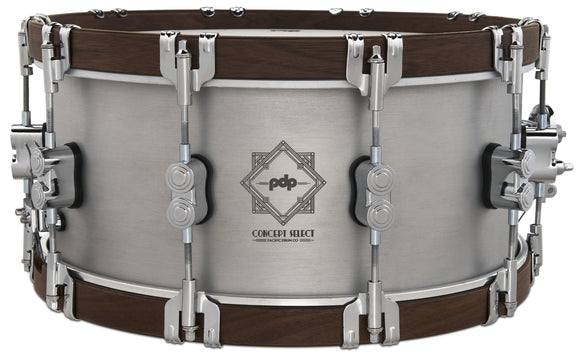 PDP 6.5x14 Concept Select 3mm Aluminum/Walnut Wood Hoops & Chrome Hardware