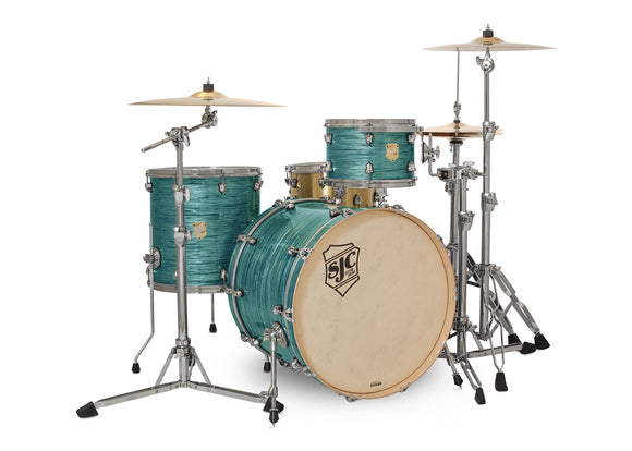 SJC Providence Series 3 Piece Shell Pack Turquoise Ripple with Chrome Hardware