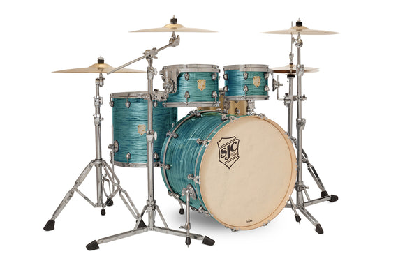 SJC Providence Series 4 Piece Shell Pack Turquoise Ripple with Chrome Hardware
