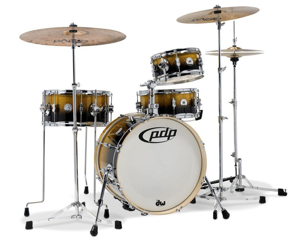 Pacific PDP Daru Jones New Yorker 4-Piece Signature Kit w/ Hardware & Cases - Gold to Black Sparkle Fade Lacquer Finish