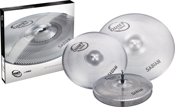 "Sabian Quiet Tone Practice Cymbals Set 14"" Hi-Hats 16"" Crash 20"" Ride (QTPC503)"