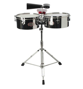"Gon Bops Tumbao Series Timbales Chrome/Steel 14"" & 15"" with Stand And Cowbell Holder"