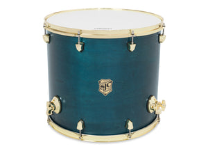 "SJC Tour Series 14x14"" Blue Satin Stain Floor Tom with Brass Hardware"
