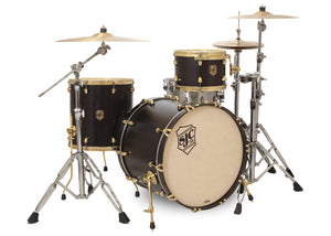 SJC Tour Series 3 Piece Shell Pack Black Satin Stain with Brass Hardware