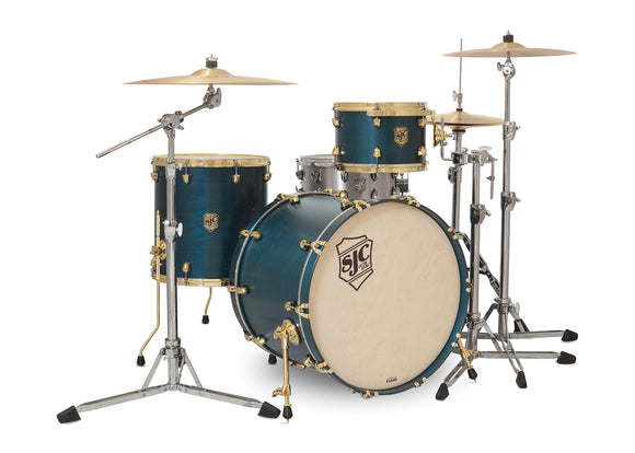 SJC Tour Series 3 Piece Shell Pack Blue Satin Stain with Brass Hardware