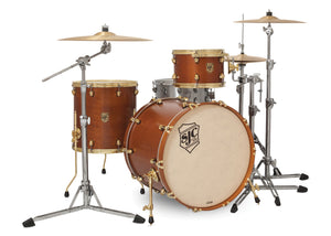 SJC Tour Series 3 Piece Shell Pack Golden Ochre Satin Stain with Brass Hardware