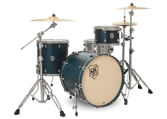 SJC Tour Series 3 Piece Shell Pack Blue Satin Stain with Chrome Hardware
