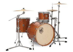 SJC Tour Series 3 Piece Shell Pack Golden Ochre Satin Stain with Chrome Hardware