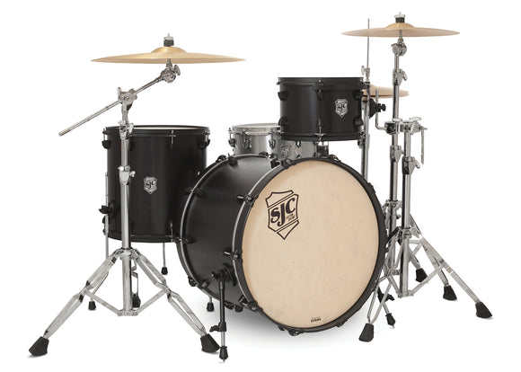 SJC Tour Series 3 Piece Shell Pack Black Satin Stain with Flat Black Hardware