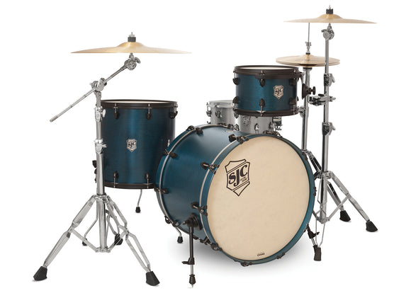 SJC Tour Series 3 Piece Shell Pack Blue Satin Stain with Flat Black Hardware