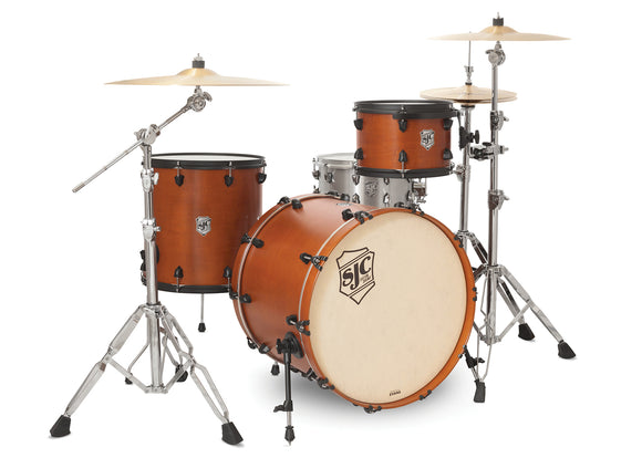 SJC Tour Series 3 Piece Shell Pack Golden Ochre Satin Stain with Flat Black Hardware