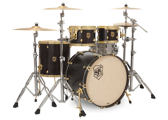 SJC Tour Series 4 Piece Shell Pack Black Satin Stain with Brass Hardware