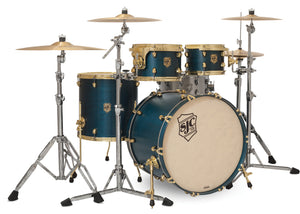 SJC Tour Series 4 Piece Shell Pack Blue Satin Stain with Brass Hardware