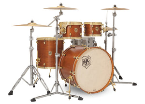 SJC Tour Series 4 Piece Shell Pack Golden Ochre Satin Stain with Brass Hardware