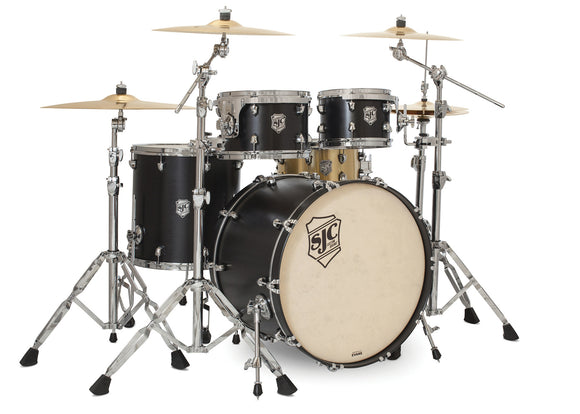 SJC Tour Series 4 Piece Shell Pack Black Satin Stain with Chrome Hardware