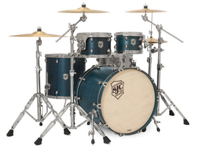 SJC Tour Series 4 Piece Shell Pack Blue Satin Stain with Chrome Hardware