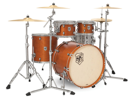 SJC Tour Series 4 Piece Shell Pack Golden Ochre Satin Stain with Chrome Hardware