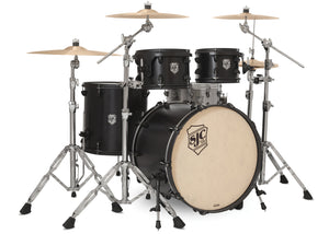 SJC Tour Series 4 Piece Shell Pack Black Satin Stain with Flat Black Hardware