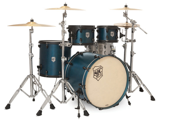 SJC Tour Series 4 Piece Shell Pack Blue Satin Stain with Flat Black Hardware