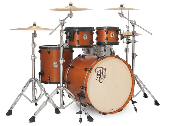 SJC Tour Series 4 Piece Shell Pack Golden Ochre Satin Stain with Flat Black Hardware