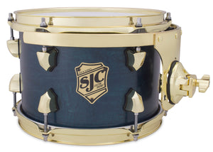 "SJC Tour Series 7x10"" Blue Satin Stain Tom with Brass Hardware"