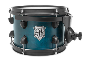 "SJC Tour Series 7x10"" Blue Satin Stain Tom with Flat Black Hardware"