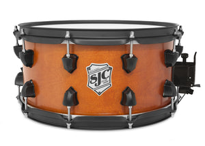 "SJC Tour Series 7x14"" Golden Ochre Satin Stain Snare with Flat Black Hardware"