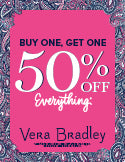 Vera Bradley Buy One Get One 50% Off Sale