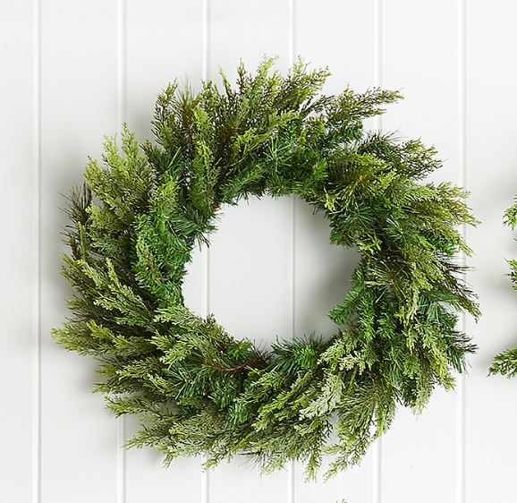 "21 "" GREEN MIXED PINE AND CEDAR WREATH"