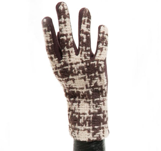 Brown/Tan Plaid Glove with Brown Palm
