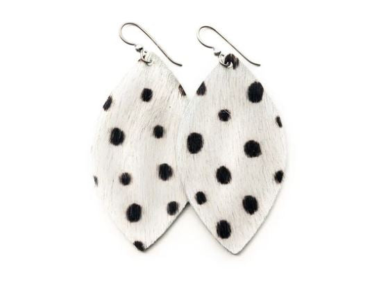 Black Spotted White Leather Earrings