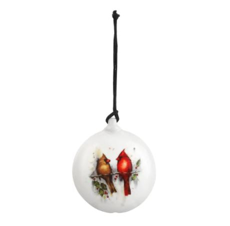 Ceramic Two Cardinal and Holly Ornament*