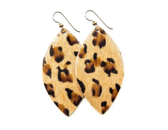 Leopard Grande Leather Earrings