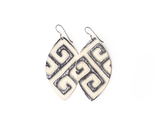 Greek Key Leather Earring
