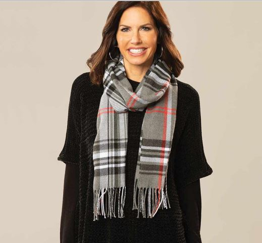 Grey, Black and Red Plaid Scarf
