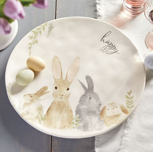 Watercolor Round Bunny Platter