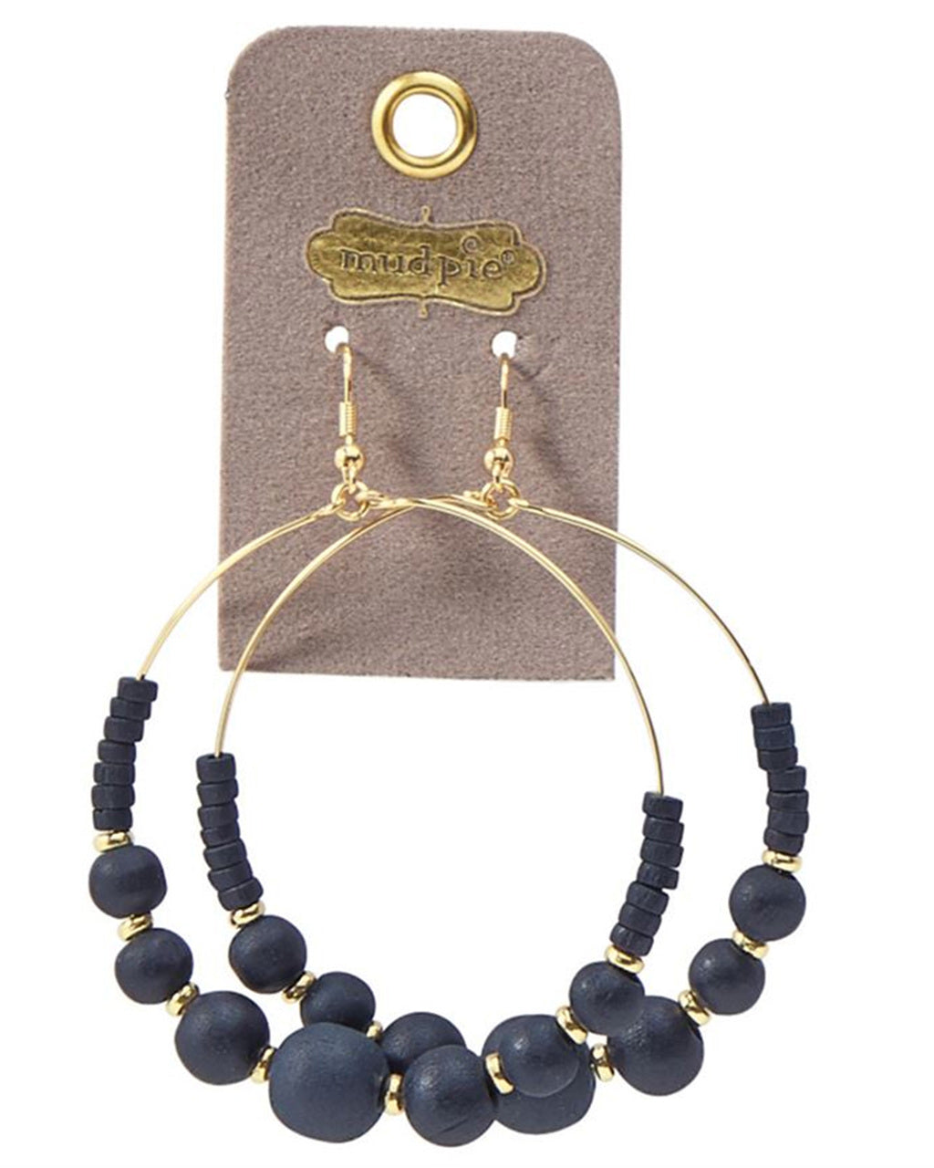WOODEN BEAD HOOP EARRINGS IN NAVY