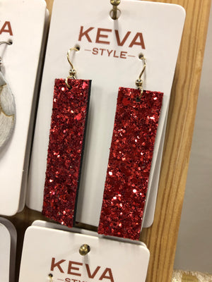 Sparkle in Red Four Corners Leather Earrings