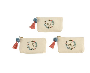 Initial Embroidered Pouches