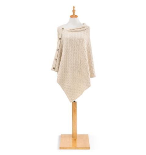 Knit Button Poncho - Cream