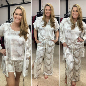 Gold Satin Tie Dye PJ Set