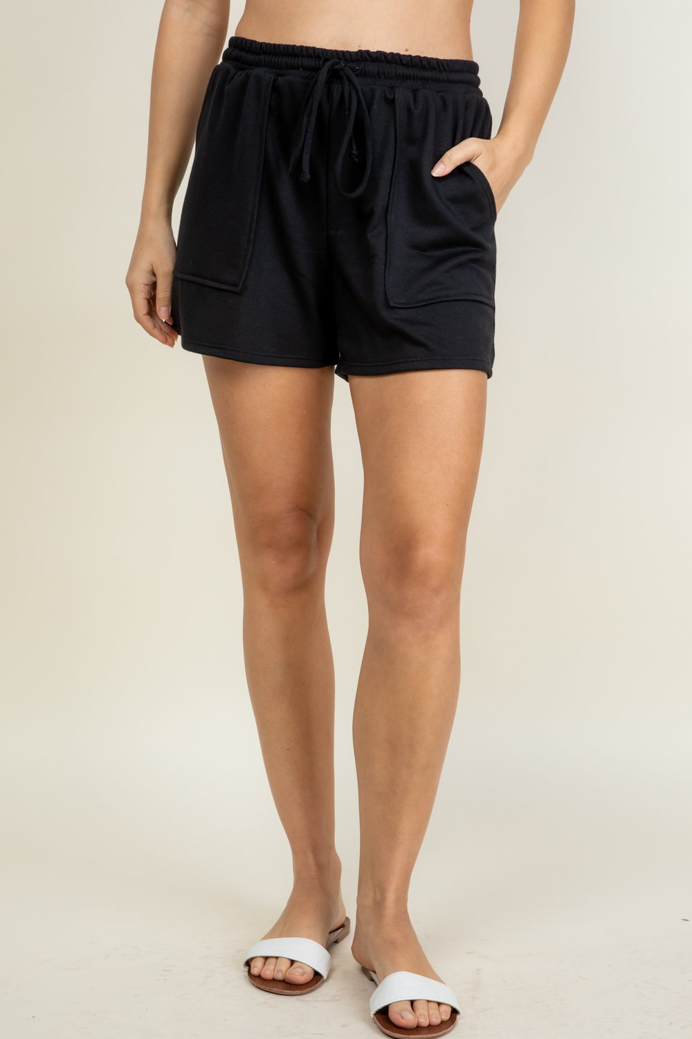 French Terry Titi Shorts; BLACK