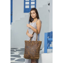 Load image into Gallery viewer, Myra Fleece Leather Tote Bag