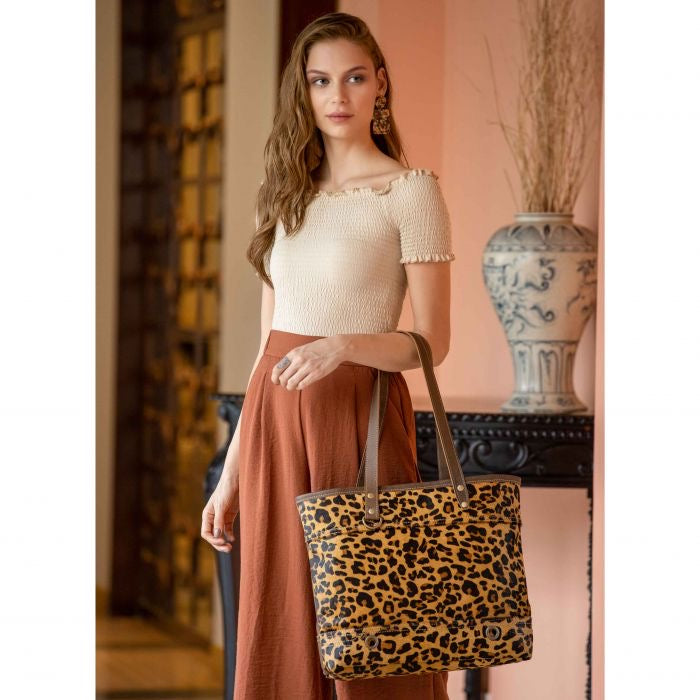 Myra Leopard Clinch Leather and Hairon Bag