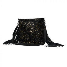 Load image into Gallery viewer, Myra Black Shimmer Leather and Hairon Bag