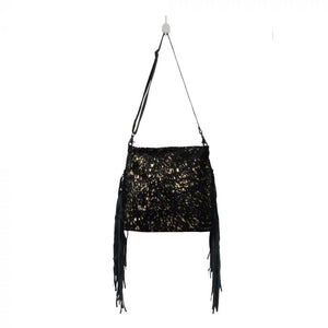 Myra Black Shimmer Leather and Hairon Bag