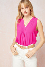 Load image into Gallery viewer, Sleeveless V-Neck Top: Hot Pink