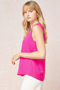 Sleeveless V-Neck Top: Hot Pink